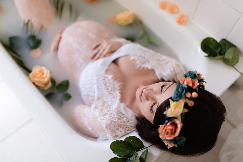 photographe grossesse bain de lait